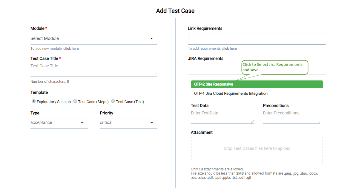 Add Test Case - Jira Requirements