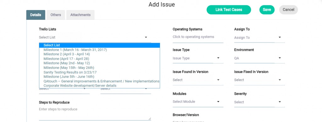 Issues in Trello - Step 1