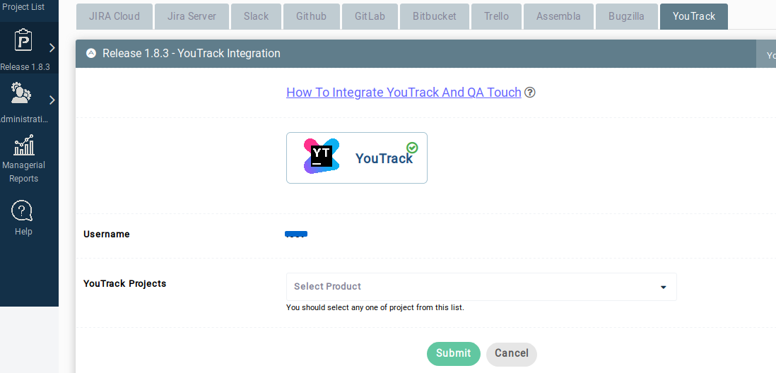 Youtrack project integration mapped